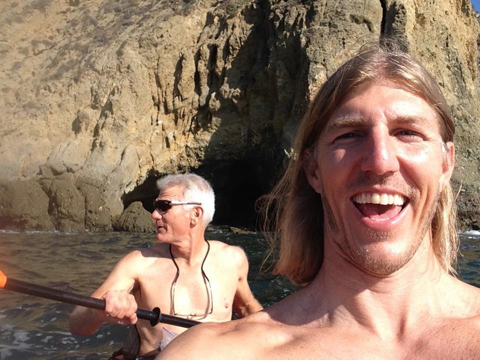 Omer Saar and his dad, Dany Saar kayaking in the Pacific Ocean